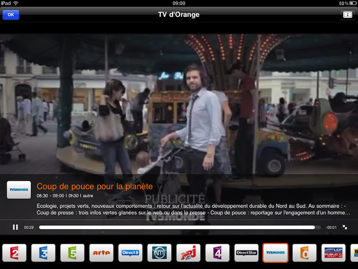 TV d'Orange sur iPad et iPhone